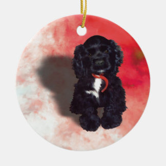 Black Cocker Spaniel Puppy - Abby Ceramic Ornament