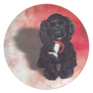Black Cocker Spaniel Puppy - Abby Dinner Plate