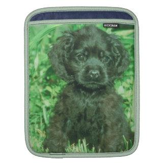 Black Cocker Spaniel Puppy Rickshaw Sleeve iPad Sleeve