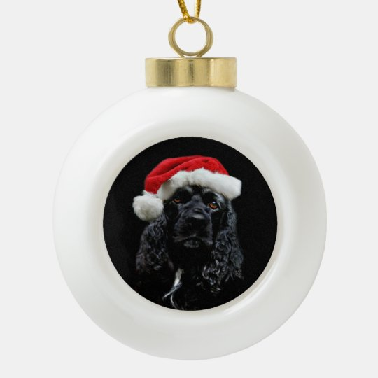 Black cocker spaniel Santa Ceramic Ball Christmas Ornament ...