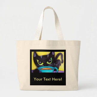 Black Coffee Cat Canvas Bag