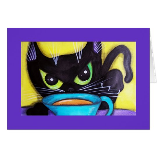 Black Coffee Cat Card