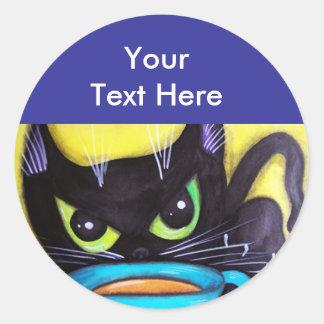 Black Coffee Cat Classic Round Sticker