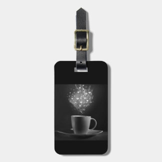 BLACK COFFEE LOVE BOHEK HEARTS DRINKS BEVERAGES CA LUGGAGE TAG