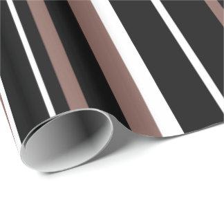 Black, Cognac Brown, and White Stripe Gift Wrap