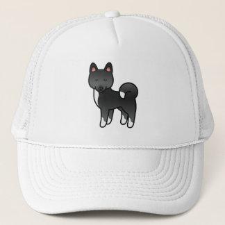 Black Color Akita Breed Dog Cartoon Illustration Trucker Hat