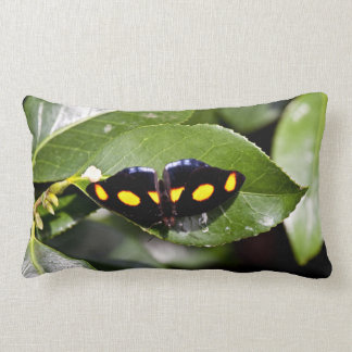 Black Color Butterfly On A Leaf Throw Pillow