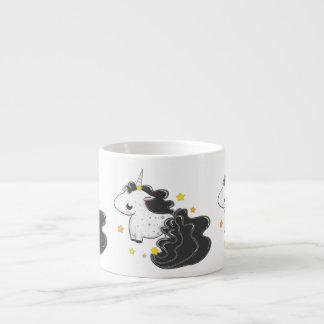 Black color cartoon unicorns with stars baby mug