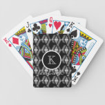 Black Color Pattern Monogram Initial Name Custom Bicycle Playing Cards