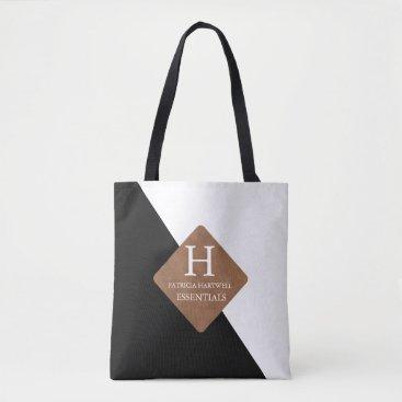 Professional Business Black Color Split Faux Leather Patch Monogram Tote Bag