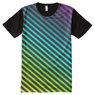 Black & colored diagonal stripes + your ideas All-Over-Print shirt
