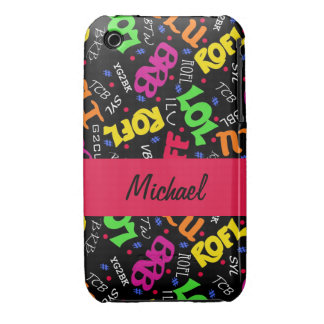 Black Colorful Electronic Texting Art Abbreviation iPhone 3 Case-Mate Cases