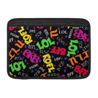 Black Colorful Electronic Texting Art Abbreviation MacBook Sleeve