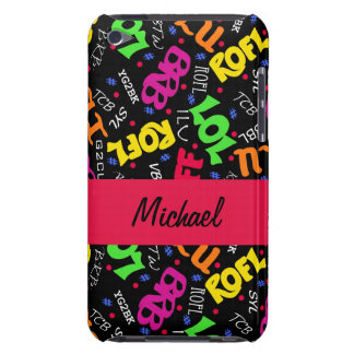 Black Colorful Electronic Texting Art Abbreviation iPod Case-Mate Cases