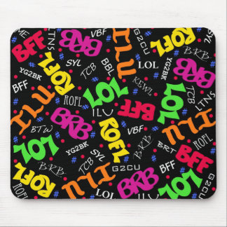 Black Colorful Electronic Texting Art Abbreviation Mouse Pad