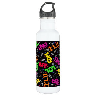 Black Colorful Electronic Texting Art Abbreviation Water Bottle