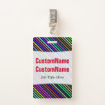[ Thumbnail: Black & Colorful Lines Pattern; Personalized Name Badge ]