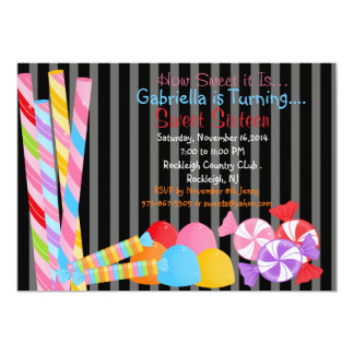 Black Colorful Lots of Candy Sweet 16 Invitation