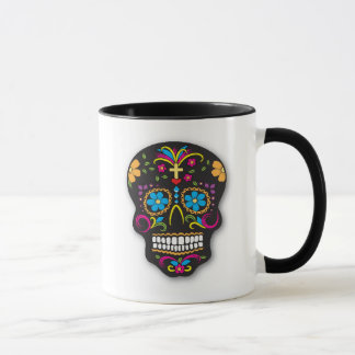 Black Colorful Mexican Sugar Skull Day of the Dead Mug