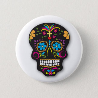 Black Colorful Mexican Sugar Skull Day of the Dead Pinback Button