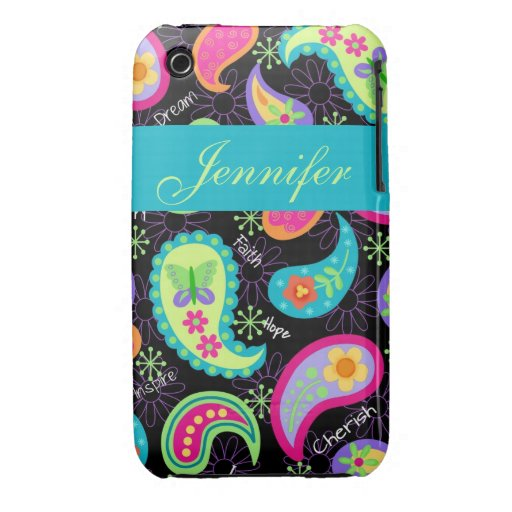 Black Colorful Modern Paisley Pattern Case-Mate iPhone 3 Case