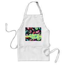 Black Colorful Modern Paisley Pattern Monogram Adult Apron