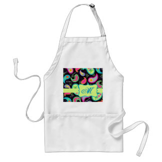 Black Colorful Modern Paisley Pattern Monogram Aprons