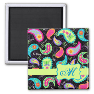 Black Colorful Modern Paisley Pattern Monogram 2 Inch Square Magnet