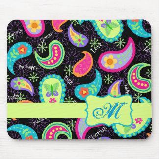 Black Colorful Modern Paisley Pattern Monogram Mouse Pad
