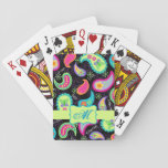 "Black Colorful Modern Paisley Pattern Monogram Playing Cards<br><div class=""desc"">You will enjoy your card games with these playing cards with a splash of color and personalized with your monogram, initials or name. The bold colors of this trendy paisley design pop on a black background. A lime green strip and emblem provide an area for personalization. Bright, fresh, modern paisleys...</div>"