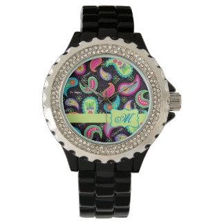 Black Colorful Modern Paisley Pattern Monogram Wristwatch