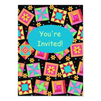 Black Colorful Patchwork Quilt Block Art Card