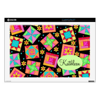 "Black & Colorful Patchwork Quilt Block Art Decal For 17"" Laptop"