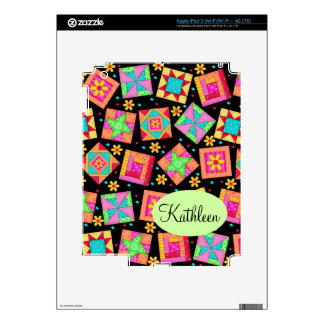 Black & Colorful Patchwork Quilt Block Art Skin For iPad 3