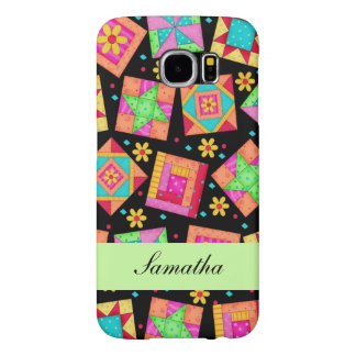 Black & Colorful Patchwork Quilt Block Name Samsung Galaxy S6 Cases