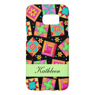 Black Colorful Patchwork Quilt Block Name Samsung Galaxy S7 Case