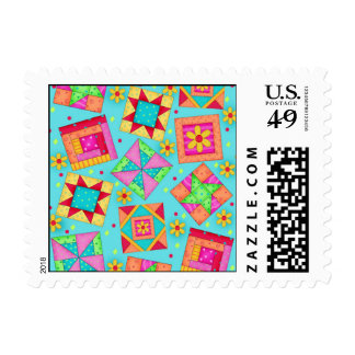 Black Colorful Patchwork Quilt Blocks Art Postage
