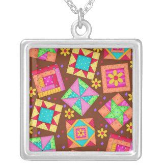 Black & Colorful Quilt Patchwork Blocks Square Pendant Necklace