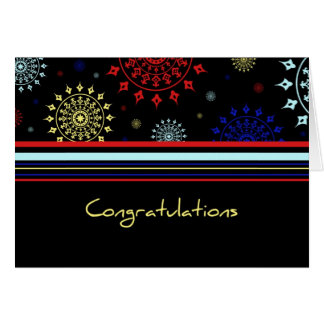 Black Colorful Stripes Employee Anniversary Card