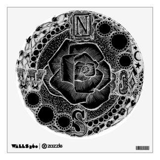 Black Compass Rose Jeweled Victorian Wall Sticker
