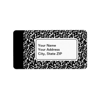 Black Composition Notebook Personalized Address Label