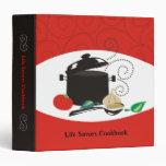 black cooking pot spoon herbs recipe binder