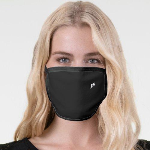 Black Cool Modern Minimalist Monogram Initials Face Mask
