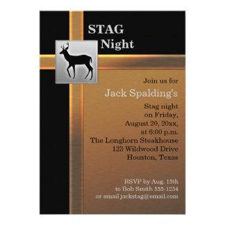 Black Copper and Silver Stag Invitation