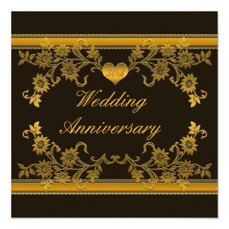 Black, Copper Floral 50th Anniversary Invitation