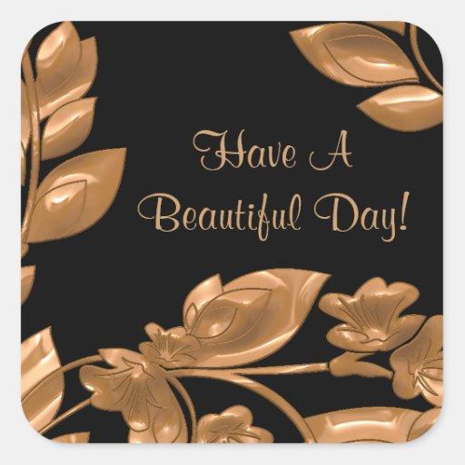 Black & Copper Garden Beautiful Day Stickers
