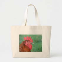 Black Copper Maran Rooster Large Tote Bag