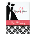Black, Coral, and White Couple Wedding Invitation