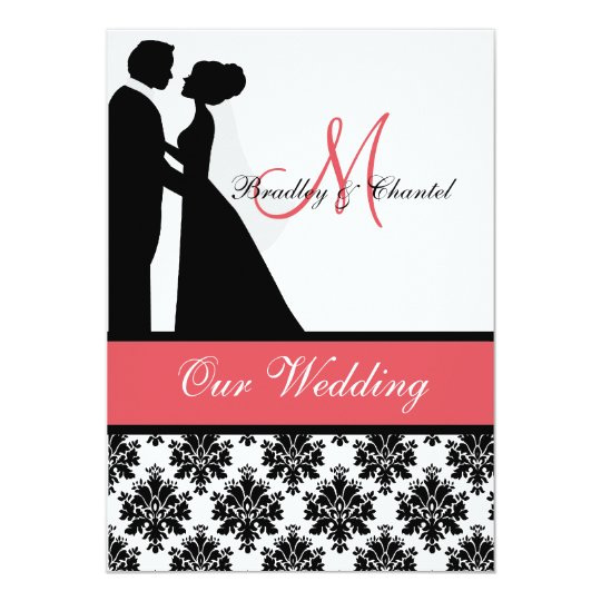 Coral And White Wedding Invitations: Black, Coral, And White Couple Wedding Invitation