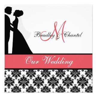 Black Coral and White Couple Wedding Invitation